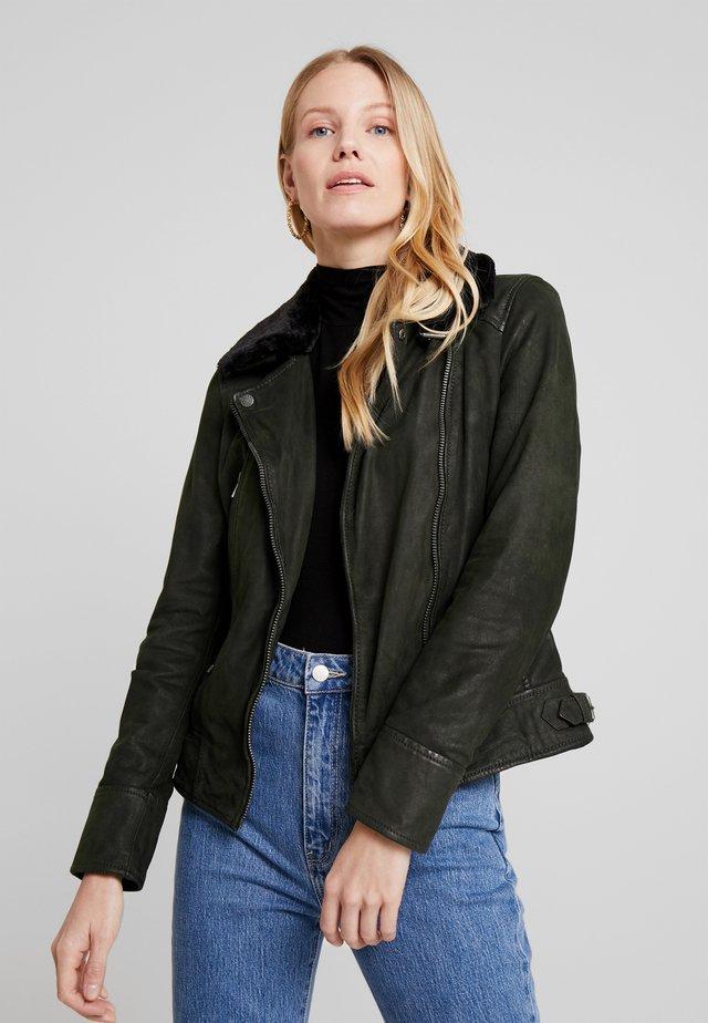 PROJECTION - Leren jas - dark khaki