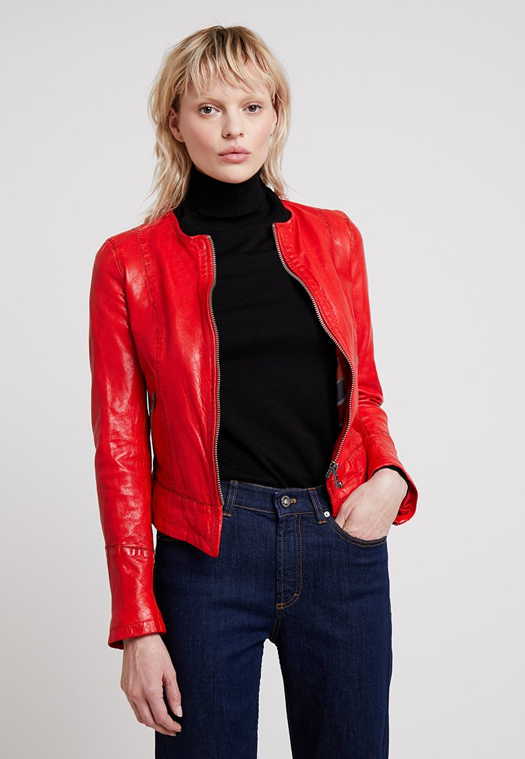 Oakwood - FLAME - Leather jacket - dark red