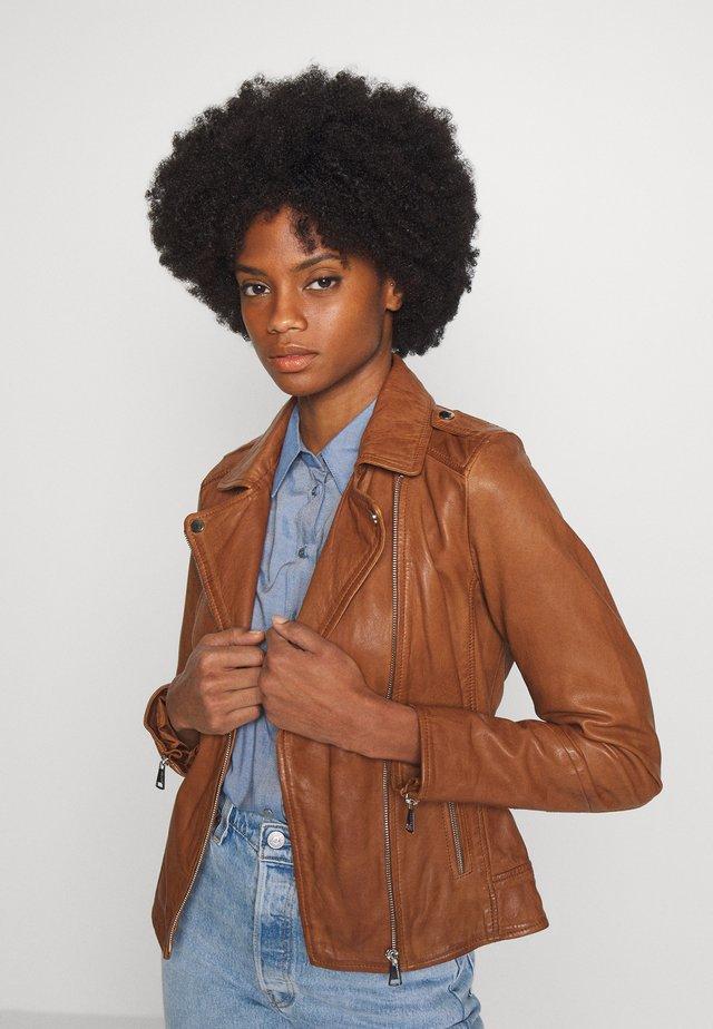 PALM - Leather jacket - cognac