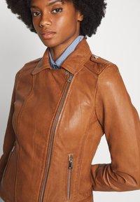 Oakwood - PALM - Leather jacket - cognac - 5