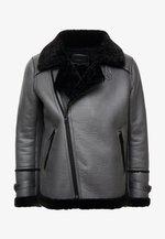 LEADER - Faux leather jacket - grey