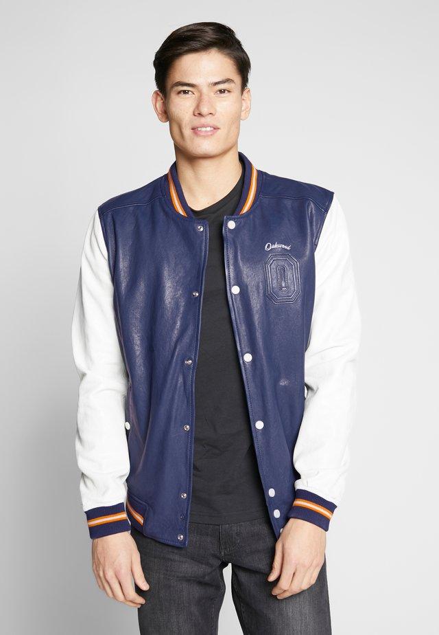 ACADEMY - Leather jacket - blue