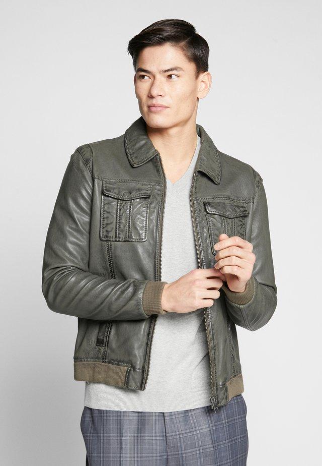 BOOSTER - Leather jacket - dark khaki