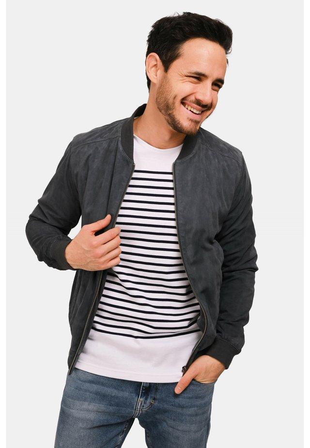 ROBBIE - Leather jacket - grey