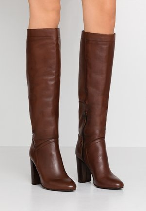 LUXE LONG BOOT - Korolliset saappaat - dark brown