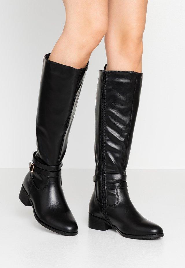 LONG FLAT BOOT - Høje støvler/ Støvler - black