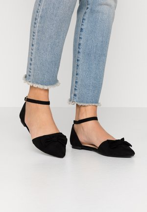 BOW 2 PART FLAT - Ankle strap ballet pumps - black