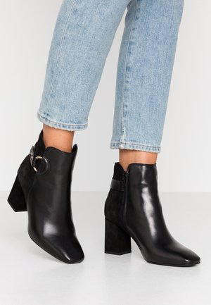 LIBBY LEATHER SQUARE TOE - Boots à talons - black