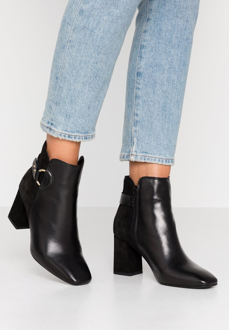 Oasis - LIBBY LEATHER SQUARE TOE - Boots à talons - black