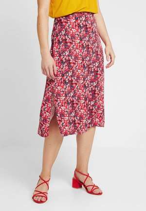 DITSY BUTTON THROUGH SPLIT SKIRT - A-line skirt - multi/red