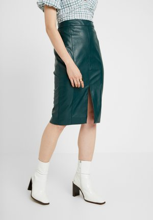 FAUX SPLIT FRONT PENCIL SKIRT - Pouzdrová sukně - deep green