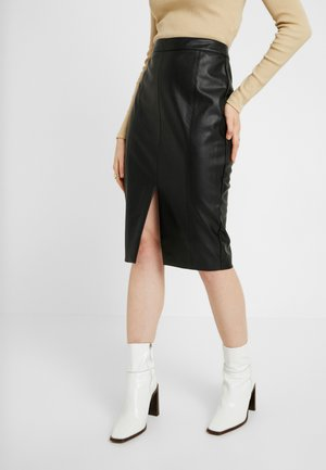 FAUX SPLIT FRONT PENCIL SKIRT - Pencil skirt - black
