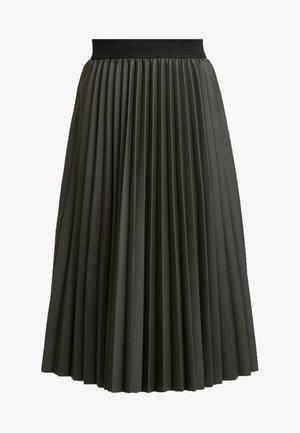 PLEATED MIDI SKIRT - Falda acampanada - khaki
