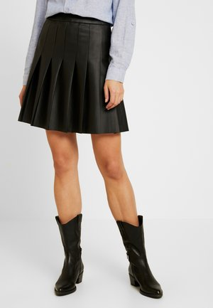 FAUX PLEATED MINI - Mini skirt - black
