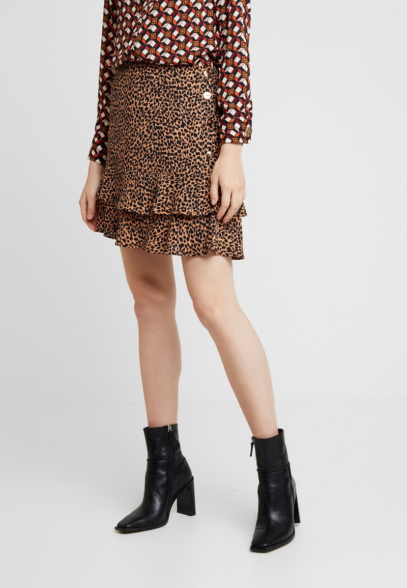 Oasis - TEXTURED TIERED SKIRT - A-Linien-Rock - multi brown