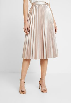 PLEATED METALLIC MIDI - A-line skirt - mid pink