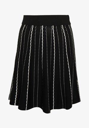 SCALLOP MONO KNIT SKIRT - Minifalda - black and white