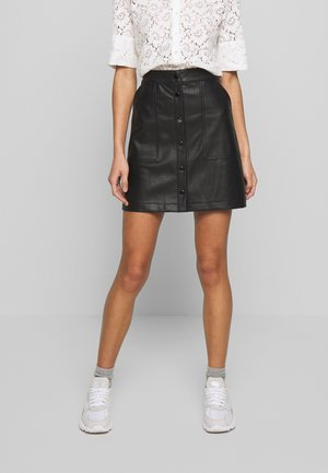 FAUX LEATHER POPPER MINI - A-line skirt - black