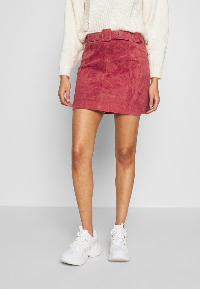 SUEDE MINI SKIRT - A-line skirt - mid pink