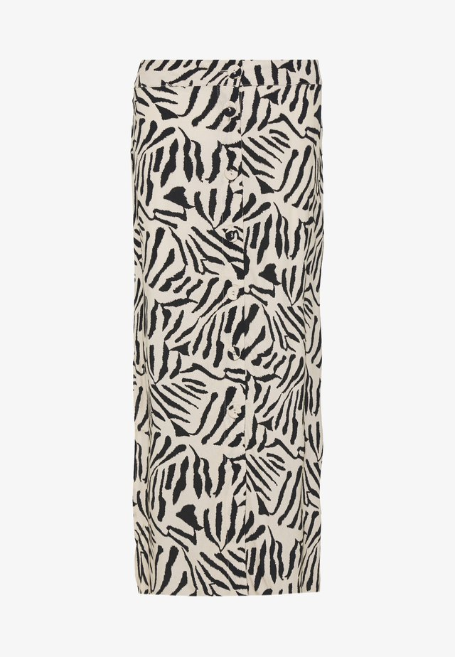 TIGER BACK BUTTON THROUGH SKIRT - Maxi sukně - black/white