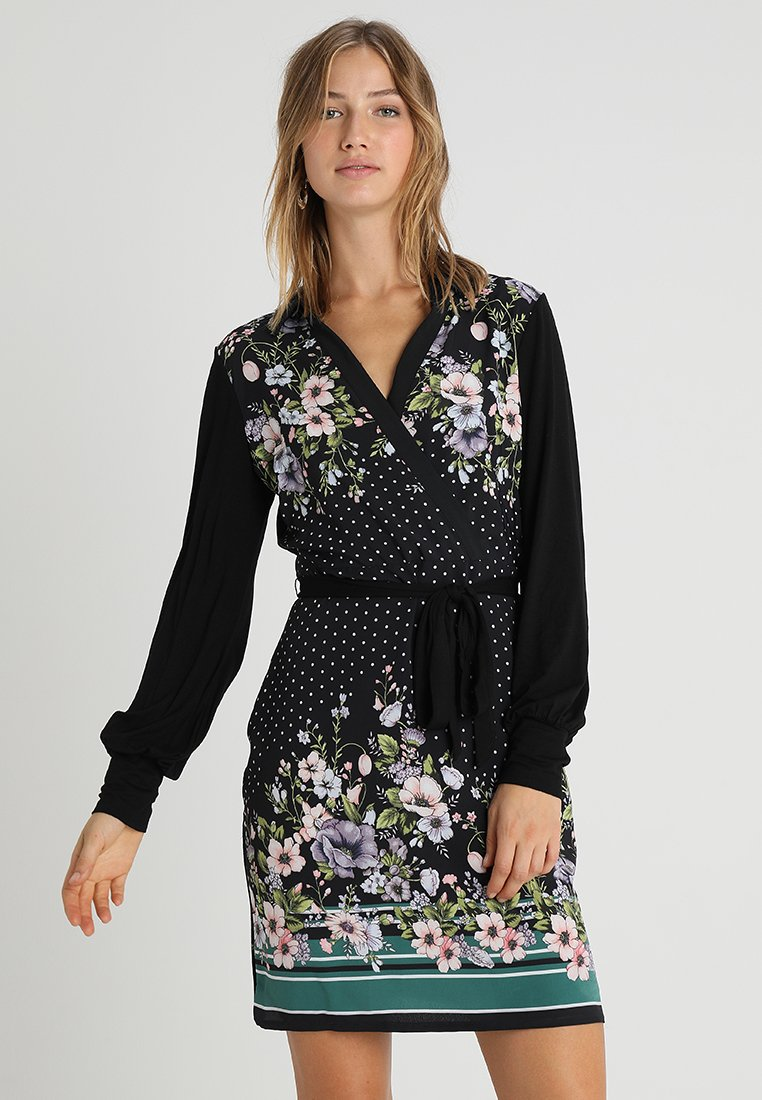 Oasis - PRINT KNOT FRONT DRESS - Freizeitkleid - multi black