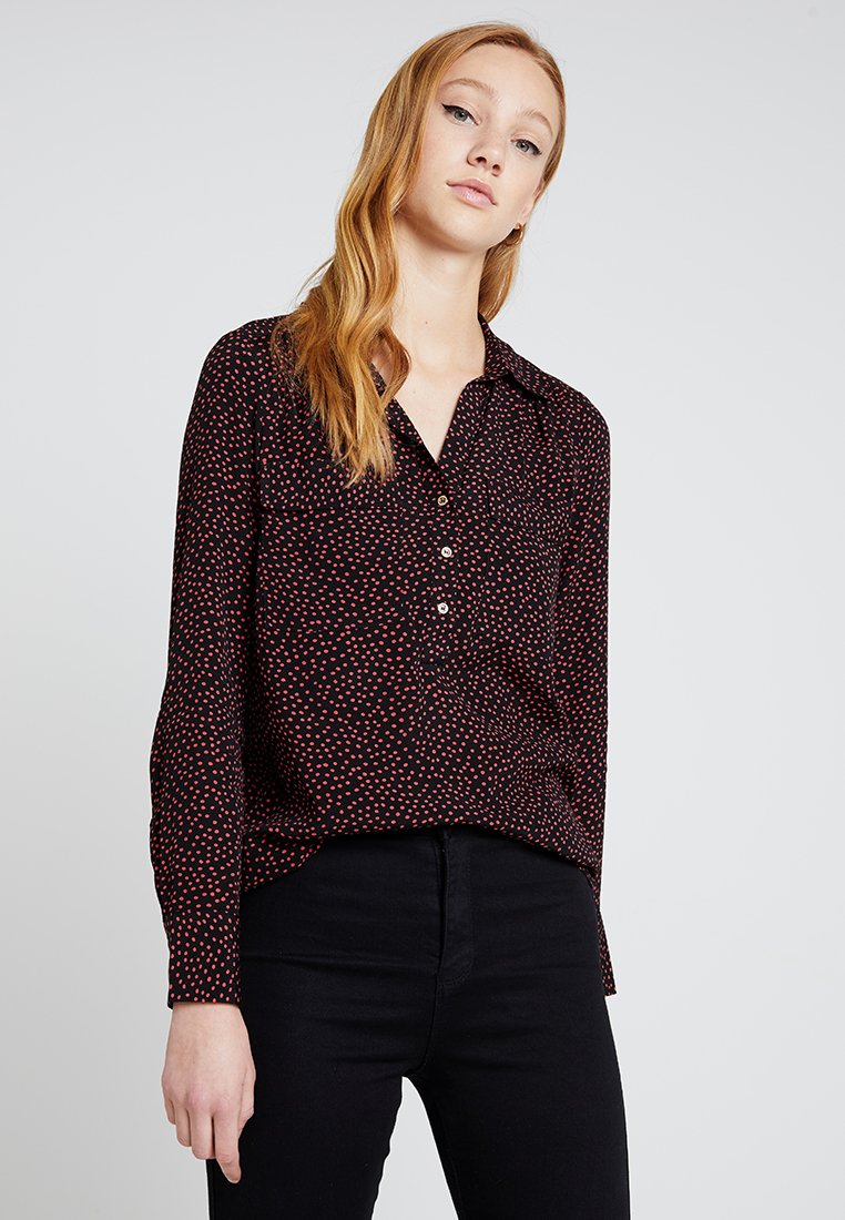 Oasis - CRUSHED SPOT HALF PLACKET SHIRT - Blouse - red