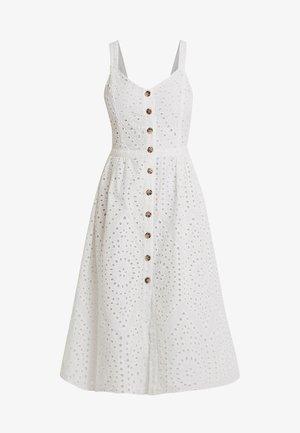 BRODERIE V NECK MIDI - Skjortklänning - white
