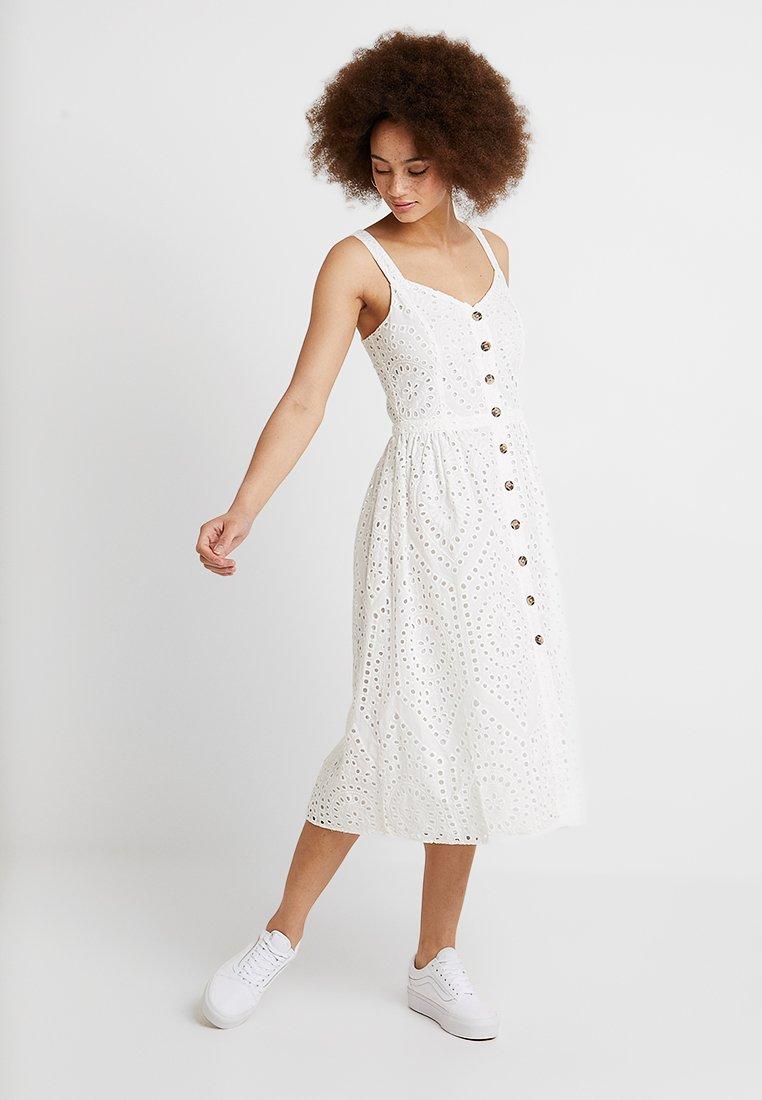 Oasis - BRODERIE V NECK MIDI - Shirt dress - white