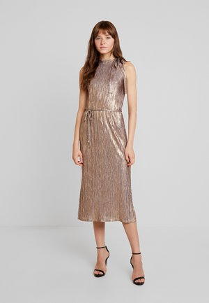 METALLIC TIE NECK DRESS - Fodralklänning - gold