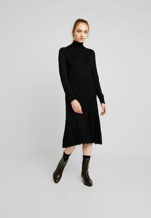 PIPPA POLO NECK PLEATED SKIRT MIDI DRESS - Jumper dress - black