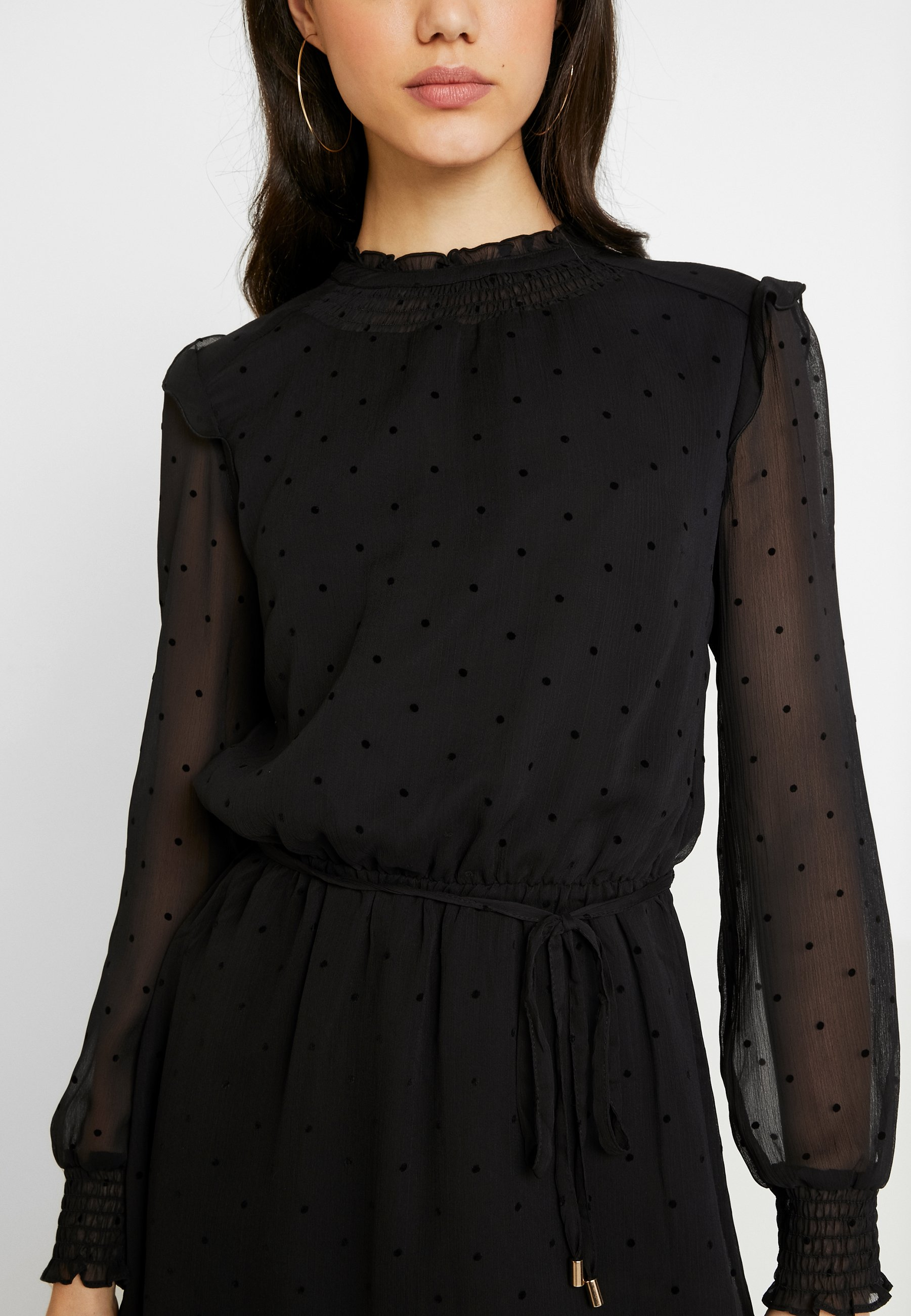 Oasis Flocked Spot Dobby Dress - Day Black