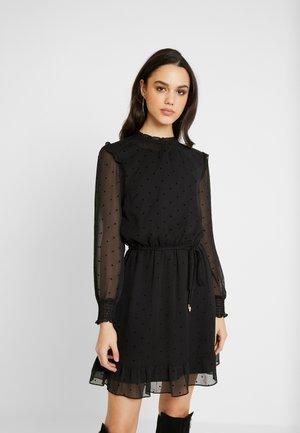 FLOCKED SPOT DOBBY DRESS - Denní šaty - black