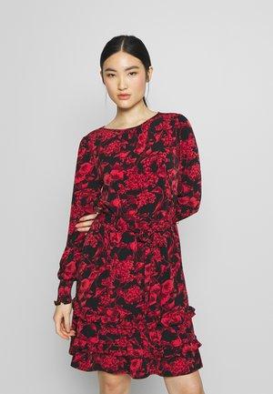 ANTONIO FORAL BLOUSE DRESS - Vestido informal - mid red