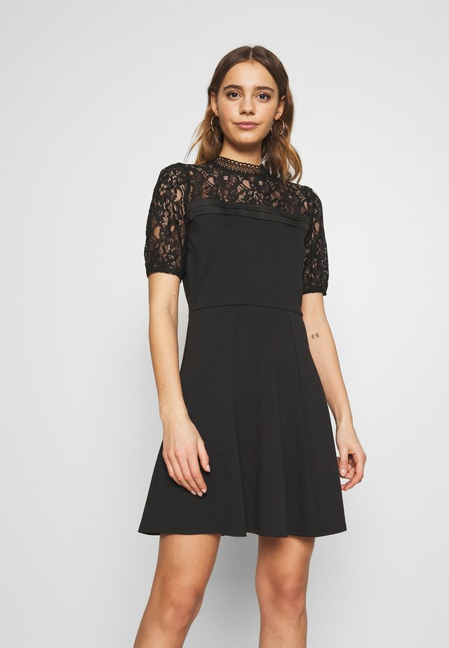 LACE PINTUCK PONTE SKATER - Day dress - black
