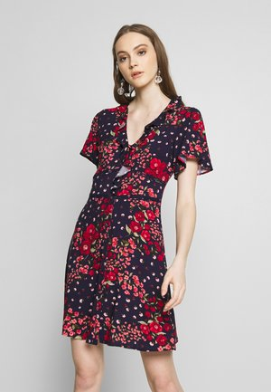 FLORAL DITSY RUFFLE TEA DRESS - Skjortekjole - multi blue