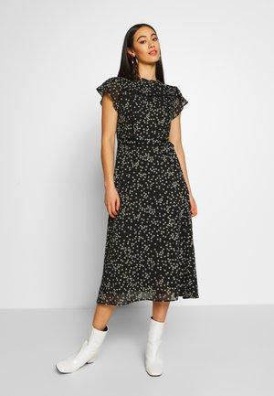PUFF PRINT DAISY MIDI DRESS - Korte jurk - black / white