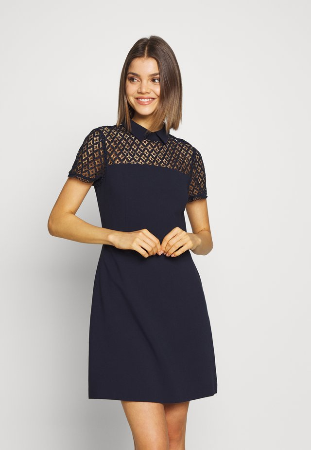 LACE COLLAR DRESS - Etui-jurk - navy
