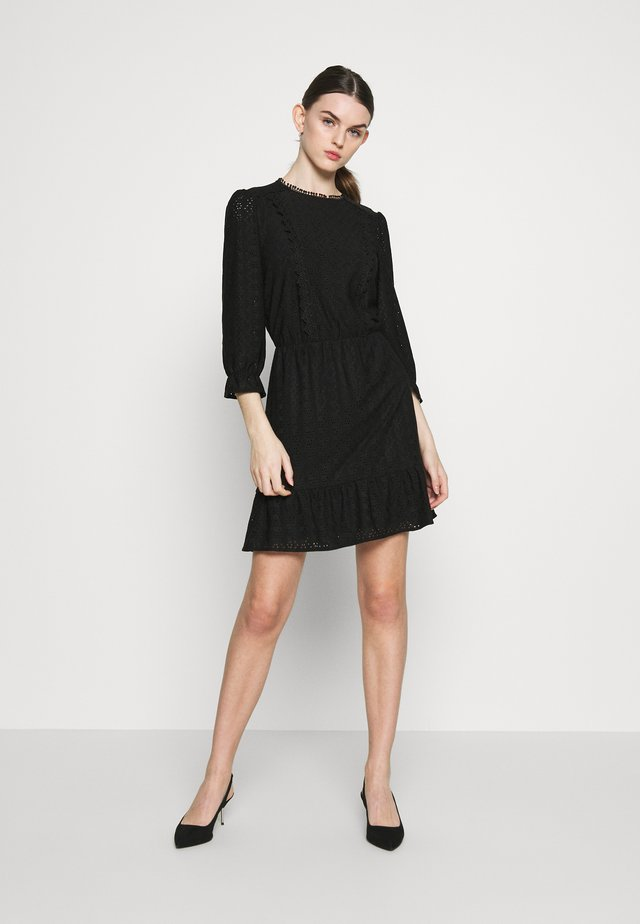 BRODERIE PRARIE DRESS - Korte jurk - black