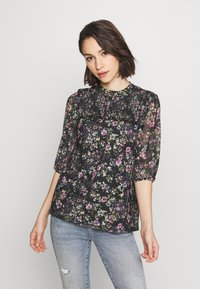 Oasis - SMUDGY FLORAL BALOON SLEEVE MESH - T-shirts print - multi blue - 0
