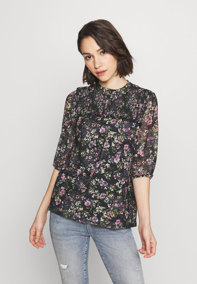 SMUDGY FLORAL BALOON SLEEVE MESH - Print T-shirt - multi blue