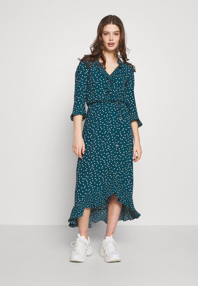 PATCHED SPOT RUFFLE NECK MIDI DRESS - Hverdagskjoler - multi green