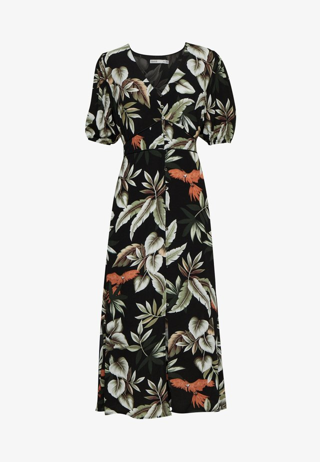TROPICAL PARROT BALLOON SLEEVE MIDI - Vestito lungo - multi/black