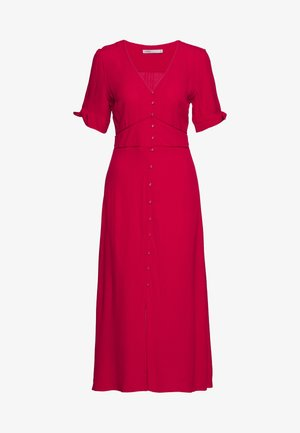 TIE SLEEVE BUTTON THRU MIDI - Blusenkleid - mid red