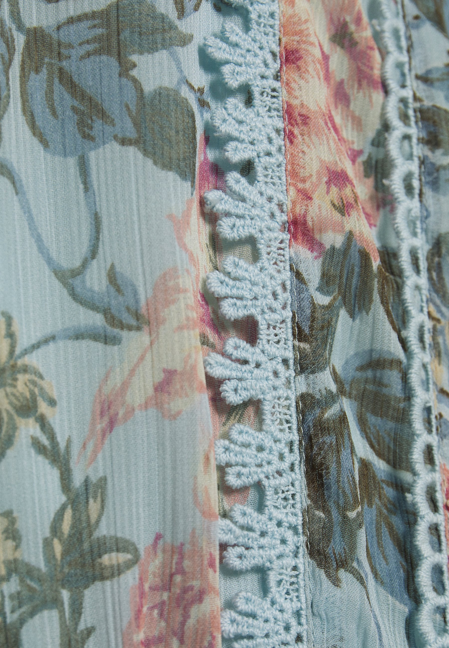 Oasis FARMHOUSE FLORAL TRIM TIERED HEM MIDI - Day dress - multi/blue