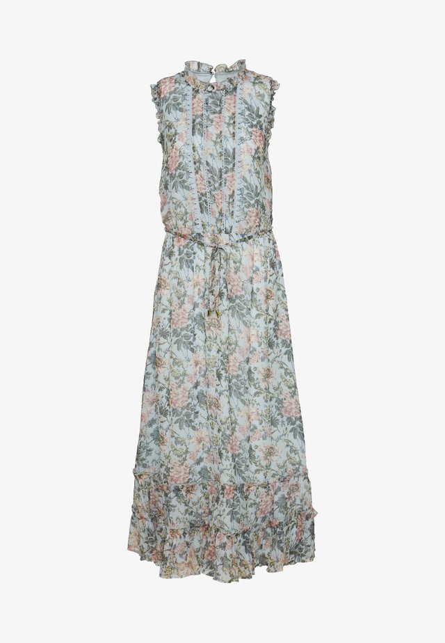 FARMHOUSE FLORAL TRIM TIERED HEM MIDI - Day dress - multi/blue