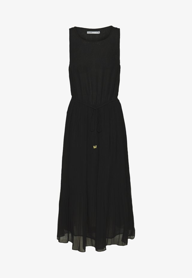 PLEATED MIDI DRESS - Korte jurk - black