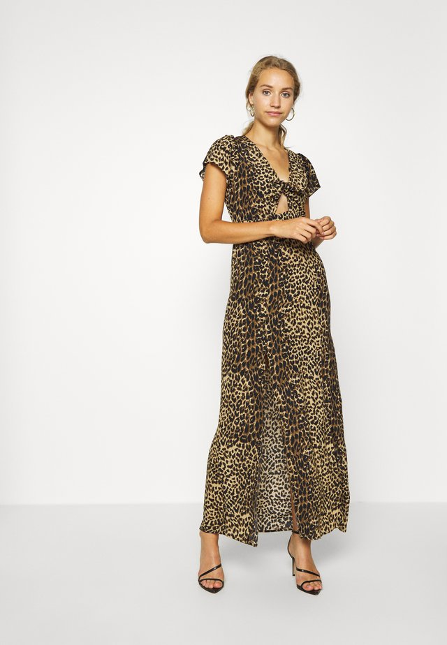 ANIMAL TIE FRONT BACKLESS - Maxi šaty - brown