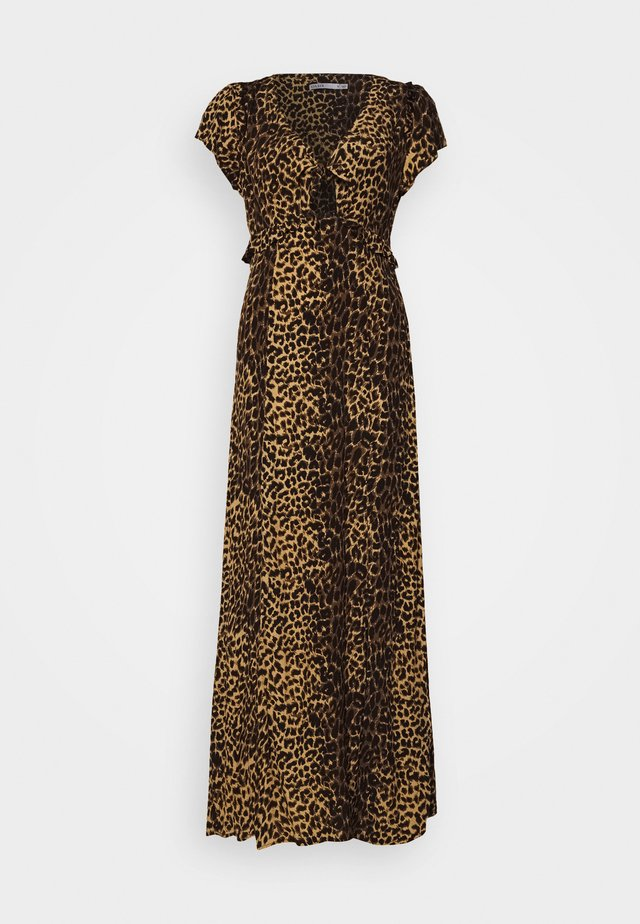 ANIMAL TIE FRONT BACKLESS - Maxi dress - brown