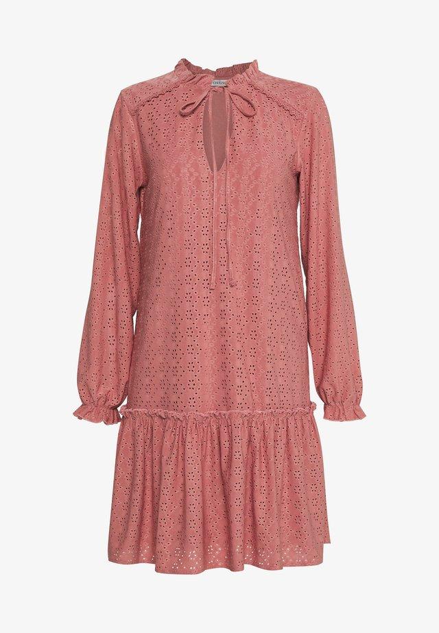 BRODERIE DROP WAIST DRESS - Jersey dress - dusky pink