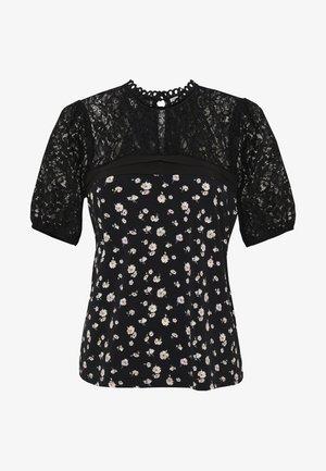 MERCI PINTUCK TOP - T-shirt imprimé - black